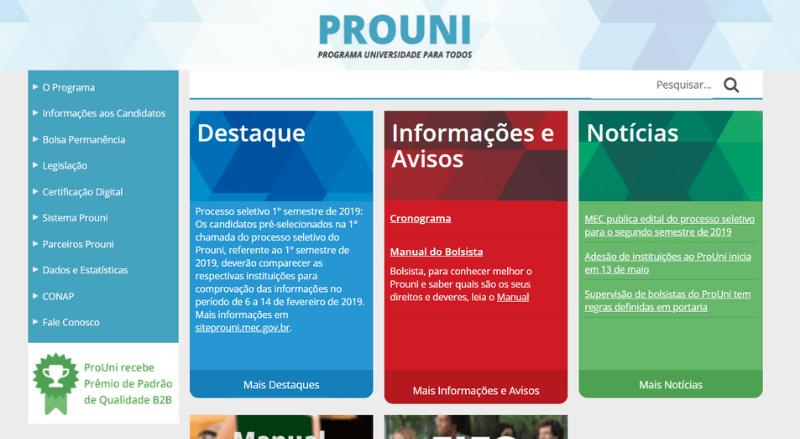 Site do Prouni 2019